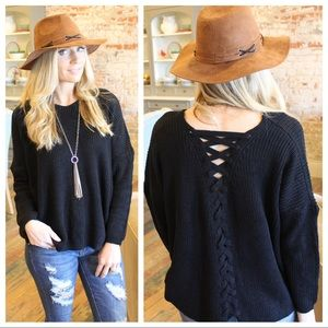 Sweaters - Black Lace Up Back Cable Knit Sweater